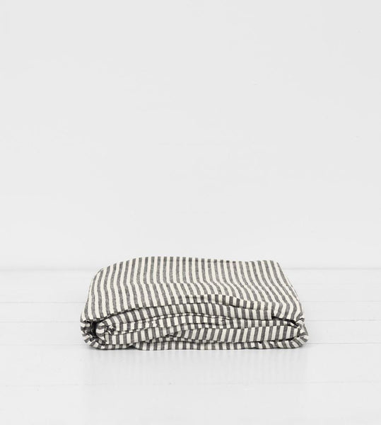 Father Rabbit | Linen Flat Sheet | Charcoal Stripe