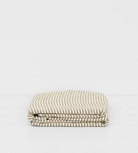 Father Rabbit | Linen Flat Sheet | Olive Stripe