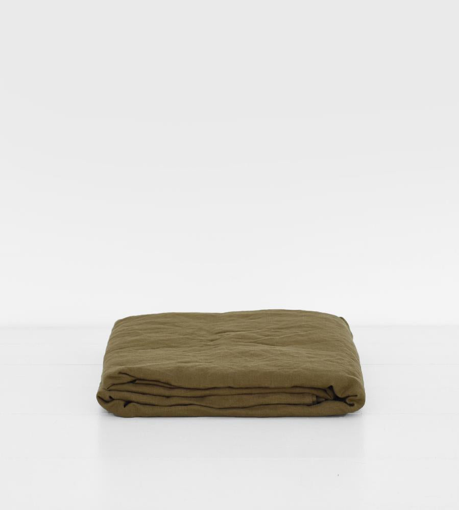 Father Rabbit | Linen Flat Sheet | Olive