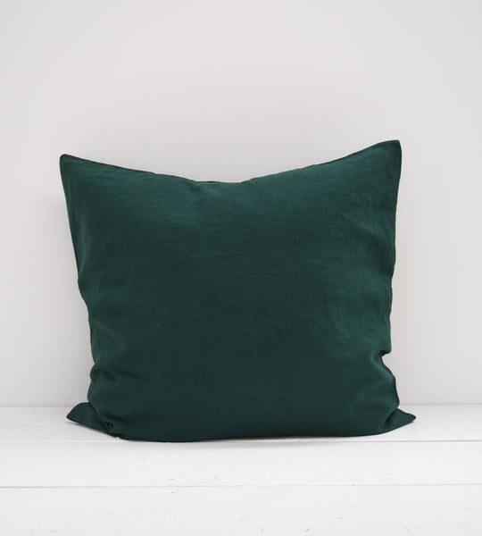 Father Rabbit | Linen European Pillowcase Pair | Botanical Dark Green