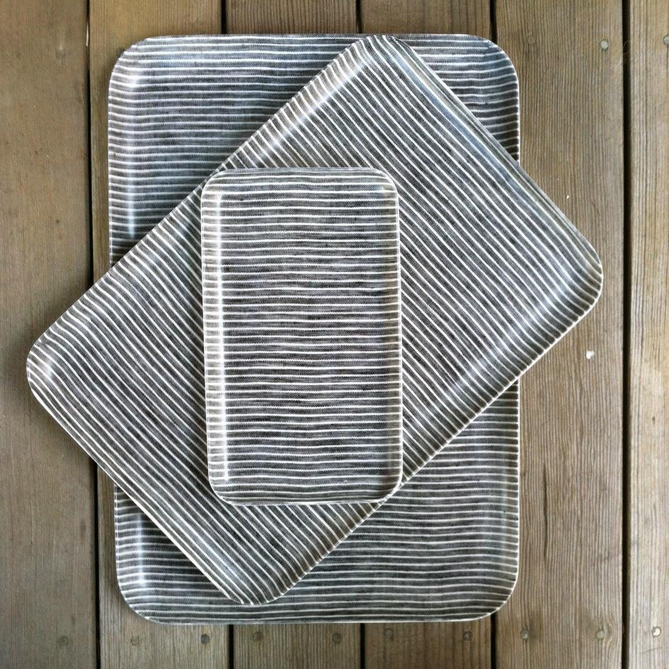 Fog Linen Tray | Grey and White Stripe