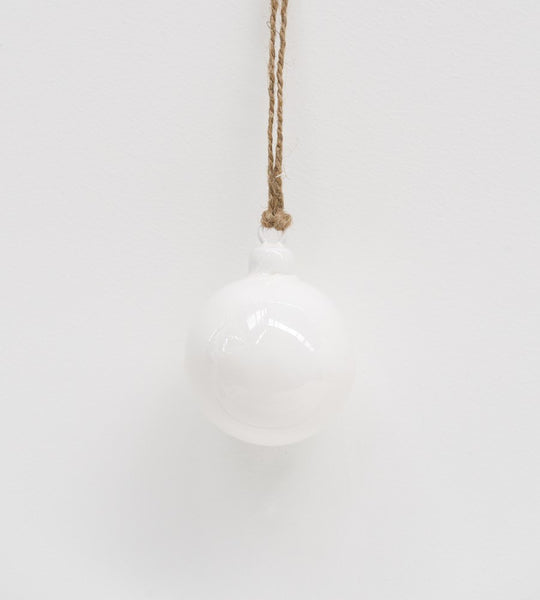 Christmas Decoration | Enamel Hanging Ball | White