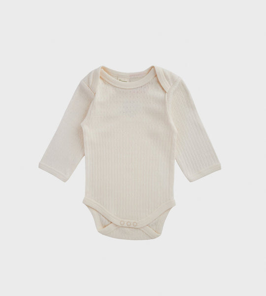 Nature Baby | Longsleeve Pointelle Bodysuit | Natural