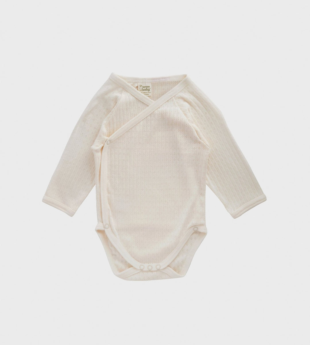 Nature Baby | Long Sleeve Pointelle Kimono Bodysuit | Natural