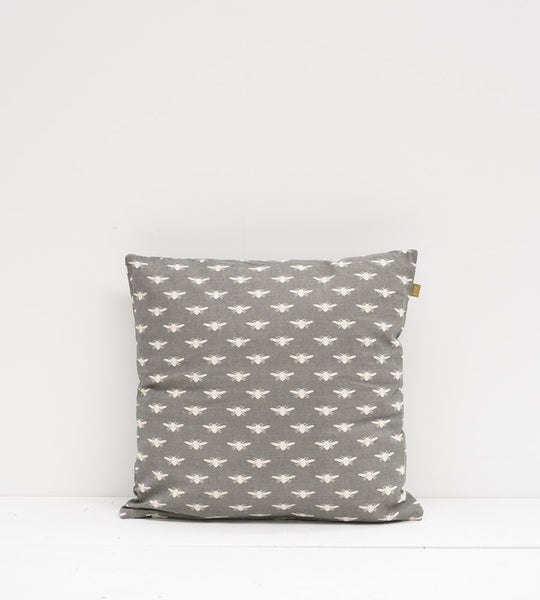Royal Bee Print Cushion with Inner | Charcoal
