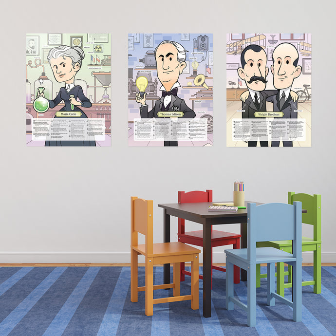 Posters Set: Curie, Edison & Wright