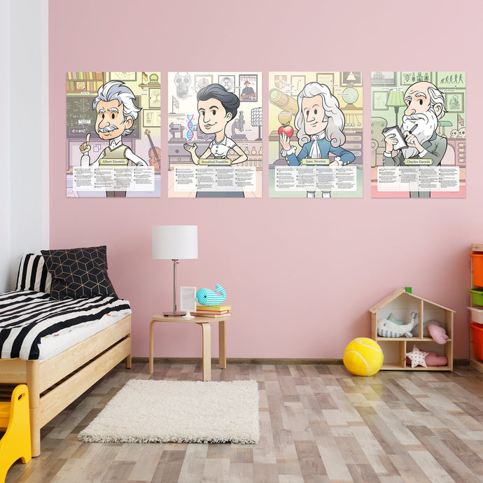 Posters Set: Einstein, Franklin, Darwin & Newton