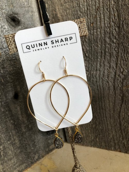 Gold Inverted Teardrop Hoops With Druzy