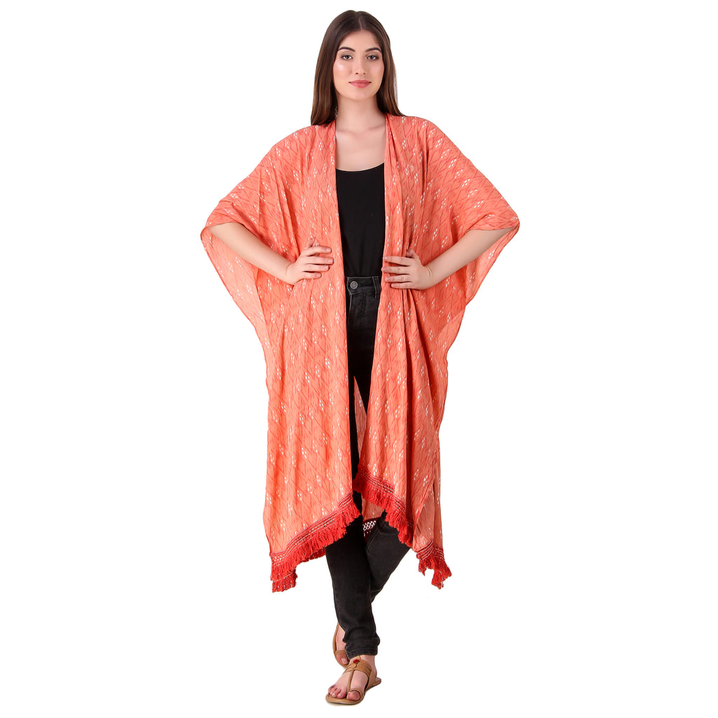 Sewing New Futures, Inc - Coral Fringe Kimono