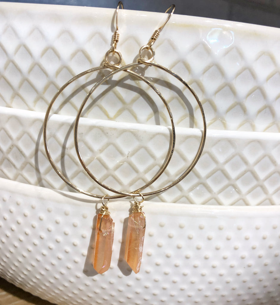 Quinn Sharp Jewelry Designs - Gold Circle Hoops with Peach Crystal Drop