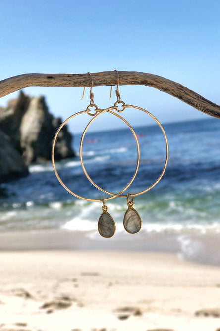Large Gold Hoops With Gemstone Dangle