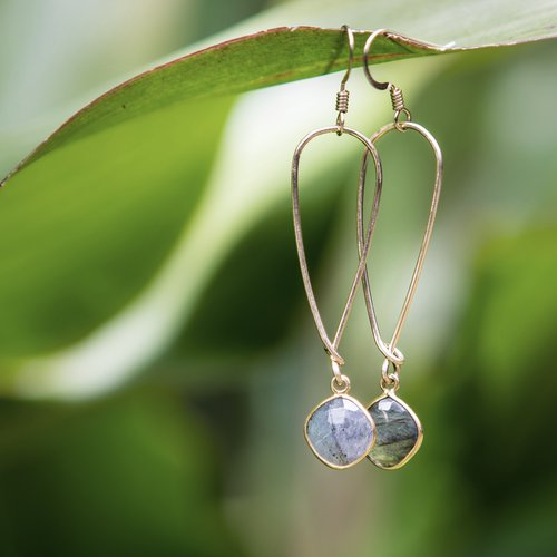 Quinn Sharp Jewelry Designs - Long Inverted Gold Teardrop With Labradorite Bezel