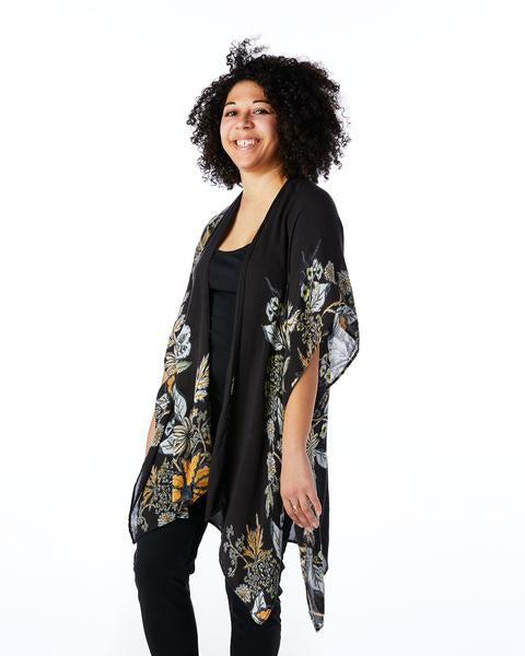 Sewing New Futures, Inc - Black Floral Kimono