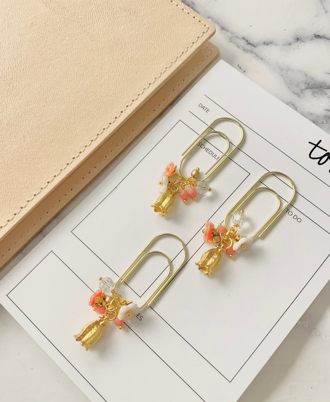 Golden Flower Bloom Dangle Paperclip