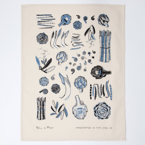 Spring Vegetable Tea Towel - Cobalt