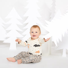 Clouds Organic Long Sleeve Onesie - Natural with Sunrise