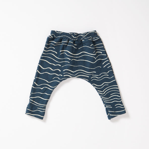 Wave Canvas Harem Pant - Marine with Cream