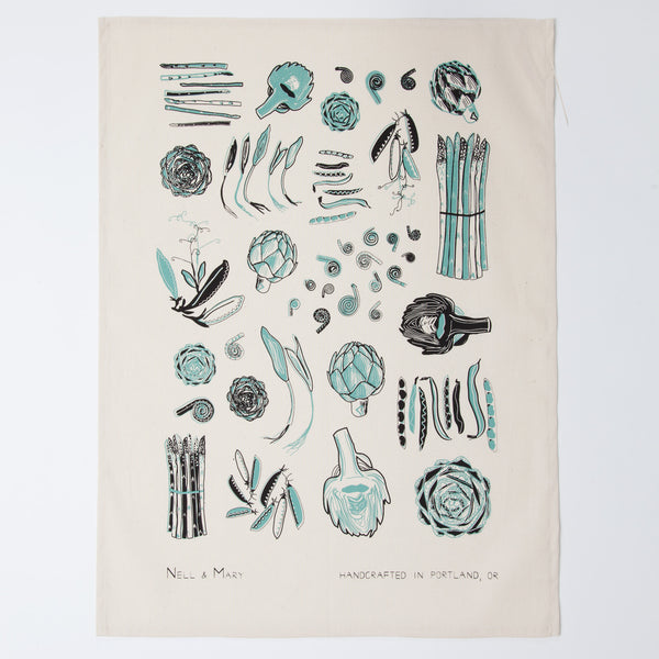 Spring Vegetable Tea Towel - Aloe