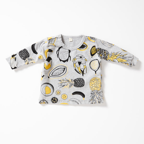 Tropical Fruit Sweatshirt - Gray with Lemon