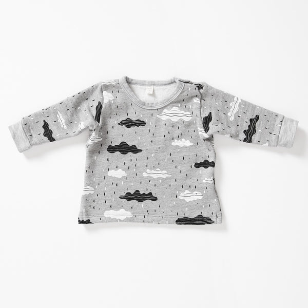 Clouds Sweatshirt - Gray Heather with White