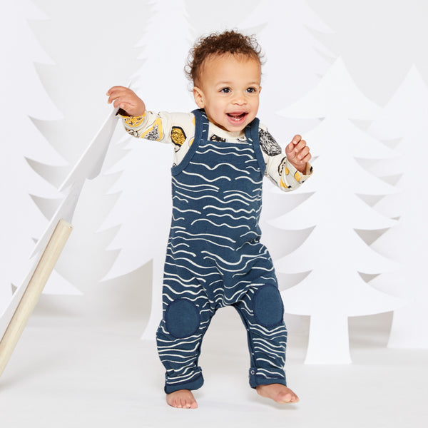 Wave Canvas Overalls - Marine with Cream