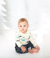 Clouds Organic Long Sleeve Onesie - Natural with Turquoise