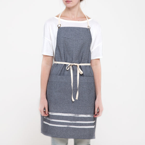 Brush Stripe Kitchen Apron - Gray