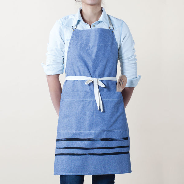 Brush Stripe Kitchen Apron - Indigo