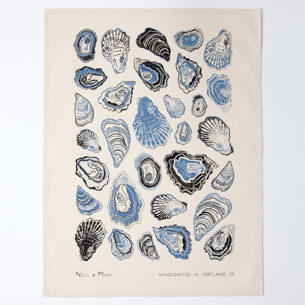 Oyster Tea Towel - Cobalt