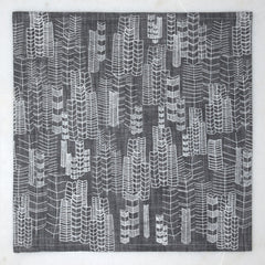 Feather Cities Napkin - Gray