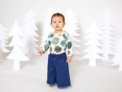 Succulent Organic Long Sleeve Onesie - Natural with Turquoise