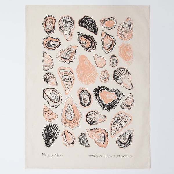 Oyster Tea Towel - Salmon
