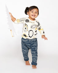 Tropical Fruit Organic Long Sleeve Onesie - Natural with Lemon