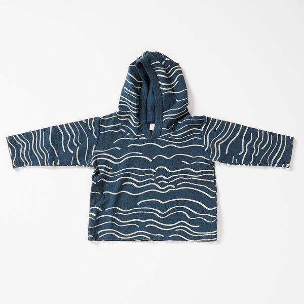 Wave Canvas Hooded Sweatshirt - Marine with Cream