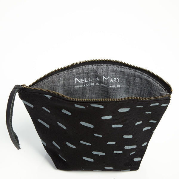 Sideways Rain Cosmetic Pouch - Black