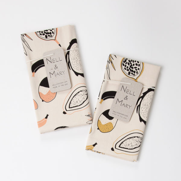Tropical Fruit Tea Towel - Salmon