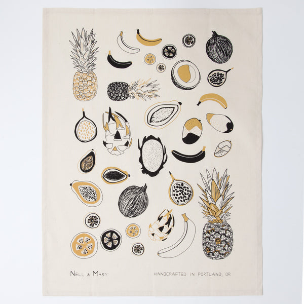 Tropical Fruit Tea Towel - Gold