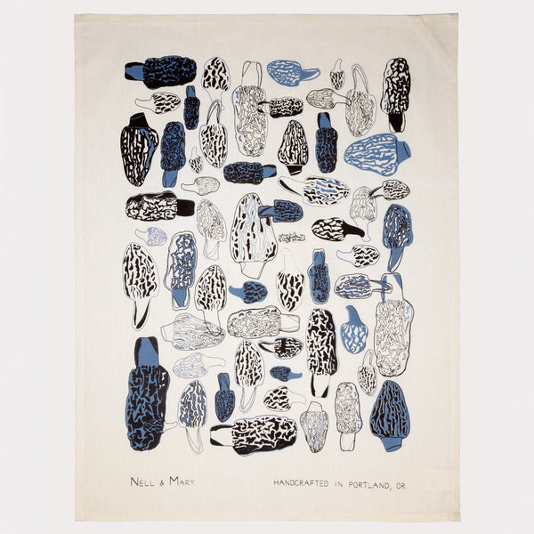 Morels Tea Towel - Cobalt