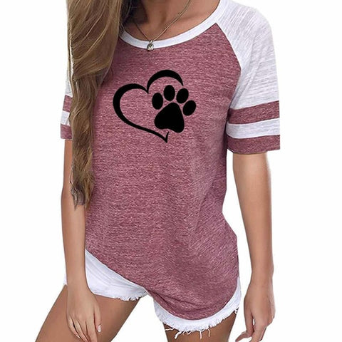 Raglan Dog Paw Heart Shirt