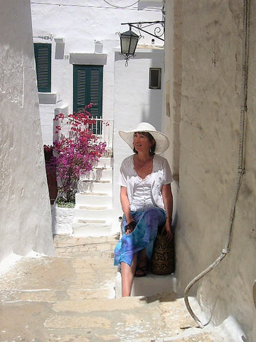 Coconut Lands owner Carole Edwards pictured in a street in Italy