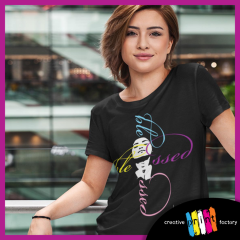 woman wearing a black blessed t shirt