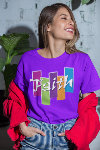 a young woman wearing a violet faith t shirt