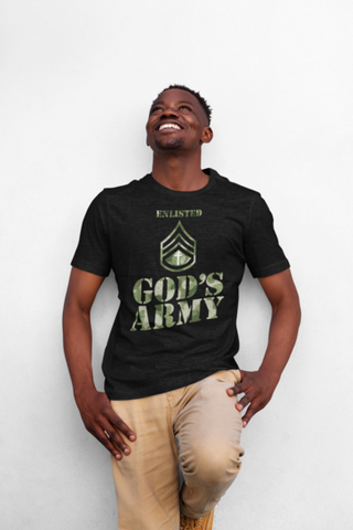 man in a god's army t shirt