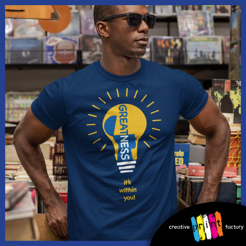 a man in shades wearing a blue greatness its within you t shirt