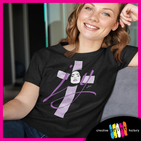 a woman wearing a black joy is in the lord t shirt
