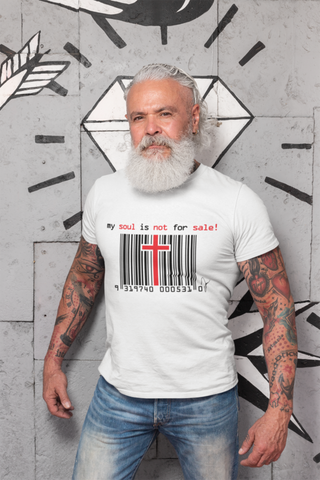 man wearing a my soul is not for sale t shirt