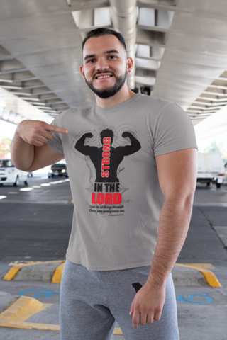 man wearing a strong in the lord t shirt