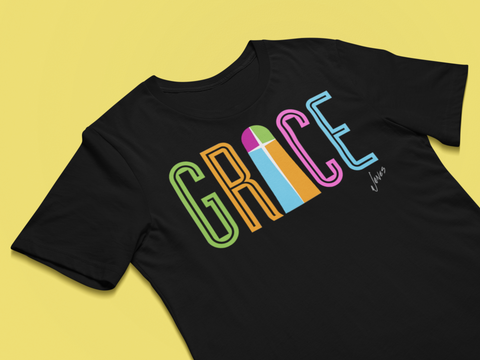 Christian t-shirt - Grace T-shirt - Premium women t-shirt design black