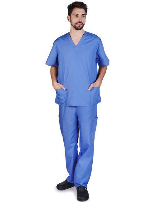 Natural Uniforms Men's Scrub Set Medical Scrub Top and Pants Ceil Blue