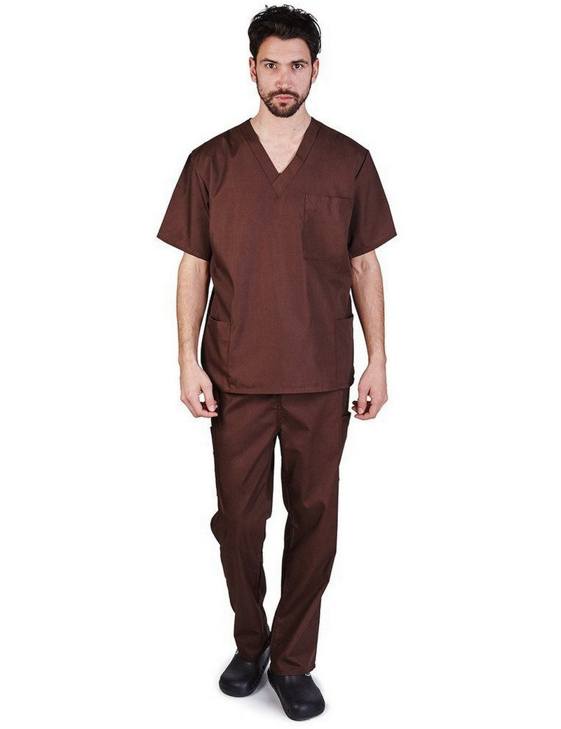Natural Uniforms Men's Scrub Set Medical Scrub Top and Pants Chocolate